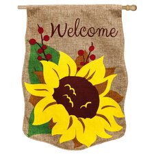 Welcome Sunflower Vertical Flag