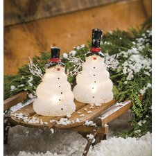 2 Piece LED Frosted Glass Snowman Set