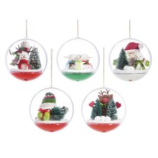 5 Piece Holiday Friend LED Ball Ornament Set