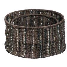 Home on the Range Leather Storage Basket (Set of 2)