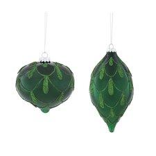 2 Piece Emerald Glitter Glass Ornament Set
