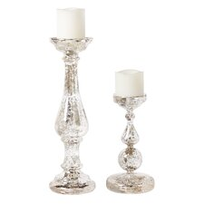 Mercury Glass Pillar Candlestick