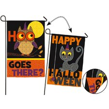 Halloween Owl and Cat 2-Sided Garden Flag
