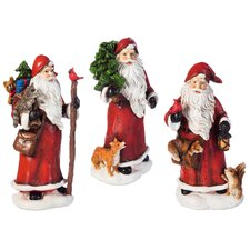 3 Piece Santa and Forest Friend Statue Set