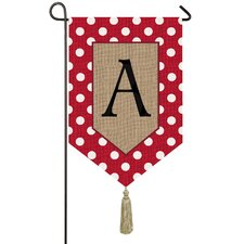 Polka-Dot Welcome Monogram 2-Sided Garden Flag