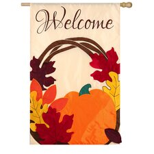 Welcome Wreath Regular Applique 2-Sided Flag