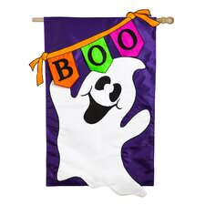 Boo Ghost Regular Applique 2-Sided Flag