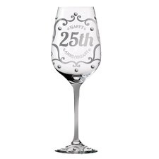 25th Anniversary Hand Painted 12 oz. Wine Glass