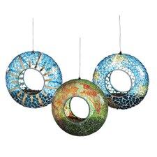 3 Piece Mosaic Sun Moon Stars Circle Feeder Set