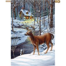 Snow Scene Deer and Cottage 2-Sided Vertical Flag