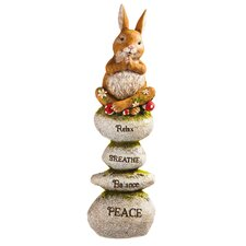 Rabbit on Rocks Totem Statue