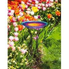 Sunrise Glass Bird Bath with Stand