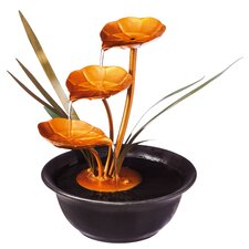 Cascading Metal Lily Pads Tabletop Fountain