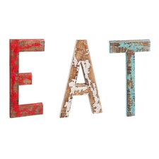 Distressed Wood Wall Decor Eat Letters