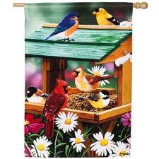 Spring Backyard Birds Feast Vertical Flag
