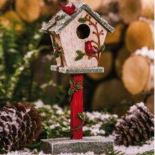 Charming Cardinal Statuary Free Standing Birdhouse