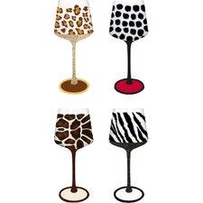 4 Piece Animal Print Wine Glass Set