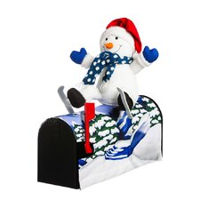 "18.5"" Snowman Skiing Magnetic Mailbox Cover"