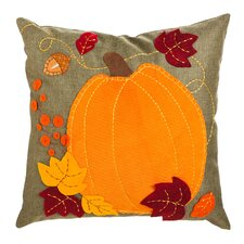 Pumpkin and Leaves Outdoor Throw Pillow