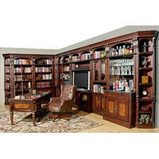 Corisca Full Library Wall with Desk and Bar Unit