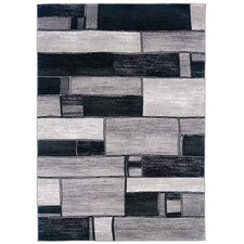 Adana Oblong Blocks Charcoal & Gray Area Rug
