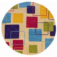 Vibrance Ivory Geometric Squares Rug