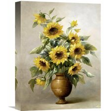 'Sunflowers In Bronze I' by Welby Painting Print on Wrapped Canvas