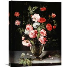 'Roses and Carnations in a Glass Vase on a Stone Ledge' by Ambrosius Brueghel Painting Print on Wrapped Canvas