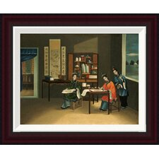 An Interior With a Woman Painting Flowers by Chinese School Framed Painting Print