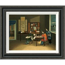 'An Interior With a Woman Painting Flowers' by Chinese School Framed Painting Print