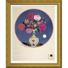 'Arrangement of Various Flowers In Decorated Vase' by Georges Lepape Framed Wall Art