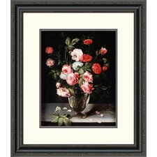 'Roses and Carnations in a Glass Vase on a Stone Ledge' by Ambrosius Brueghel Framed Painting Print