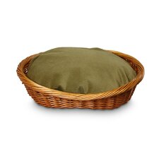 Luxury Wicker Dog Basket and Bed