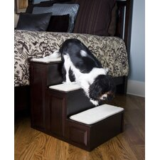Three Step Pet Stairs in Espresso