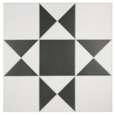 "Narcisso Blanco 13"" x 13"" Porcelain Field Tile in Black and White"