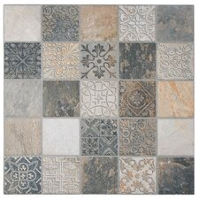 "Deco Maximiliano 17.5"" x 17.5"" Porcelain Field Tile in Multi"