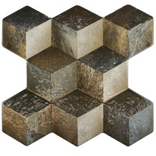 "Qubic 15.25"" x 16"" Ceramic Field Tile in Ceniza"