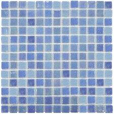 "Colgadilla Square 0.88"" x 0.88"" Glass Mosaic Tile in Blue Pearl"