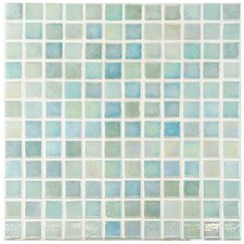 """Colgadilla Square 0.88"""" x 0.88"""" Glass Mosaic Tile in Agua Mother of Pearl"""