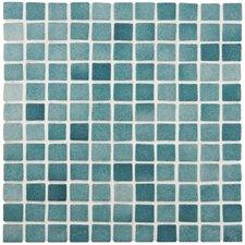 "Colgadilla Square 0.88"" x 0.88"" Glass Mosaic Tile in Niebla Azul Anti Slip"