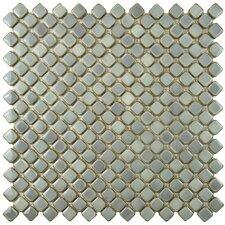 "Gem 0.71"" x 0.71"" Porcelain Mosaic Tile in Glossy Grey"
