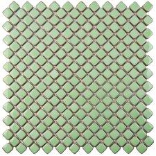 """Gem 0.75"""" x 0.75"""" Porcelain Mosaic Tile in Glossy Light Green"""