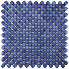 "Gem 0.75"" x 0.75"" Porcelain Mosaic Tile in Glossy Sapphire"