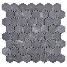 "Peak 1.5"" x 1.625"" Natural Stone Mosaic Tile in Black"