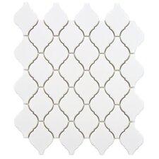 "Arabesque 1.87"" x 2.75"" Porcelain Mosaic Tile in Matte White"