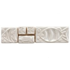 "Reef 8"" x 2"" Aquatica Ceramic Mosaic Listello Wall Tile in Blanco"
