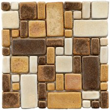 """Heritage 12"""" x 12"""" Ceramic Mosaic Tile in Brown and Gold"""