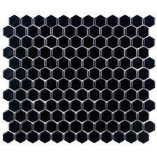 """Retro 0.875"""" x 0.875"""" Hex Porcelain Mosaic Tile in Matte Black"""