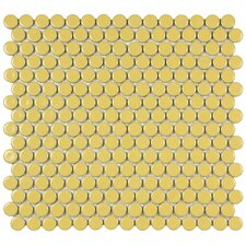 """Penny 0.8"""" x 0.8"""" Porcelain Mosaic Tile in Vintage Yellow"""