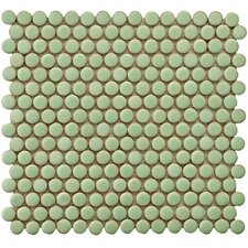"Penny 0.8"" x 0.8"" Porcelain Mosaic Tile in Moss Green"